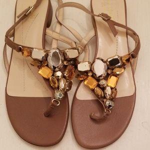 Jeweled Kate Spade taupe sandal, sz 7